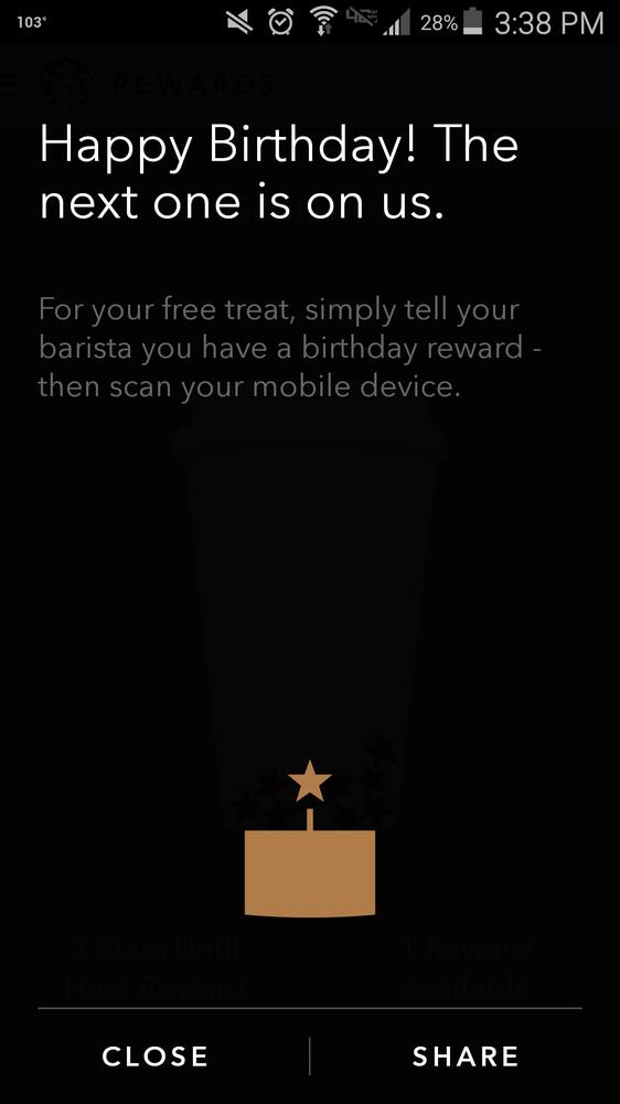 Starbucks sent me my free birthday drink reward coupon D cant wait