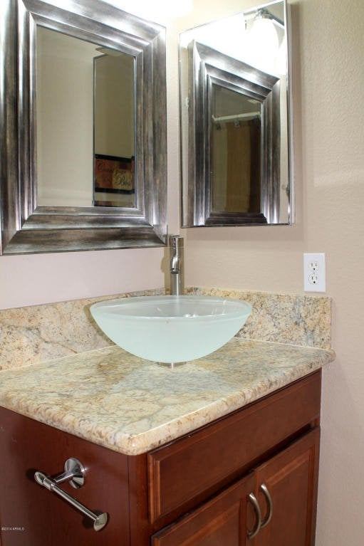 A Small Granite Countertop In A Bathroom Yelp