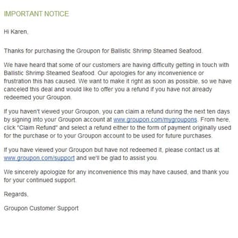 how to call groupon for refund