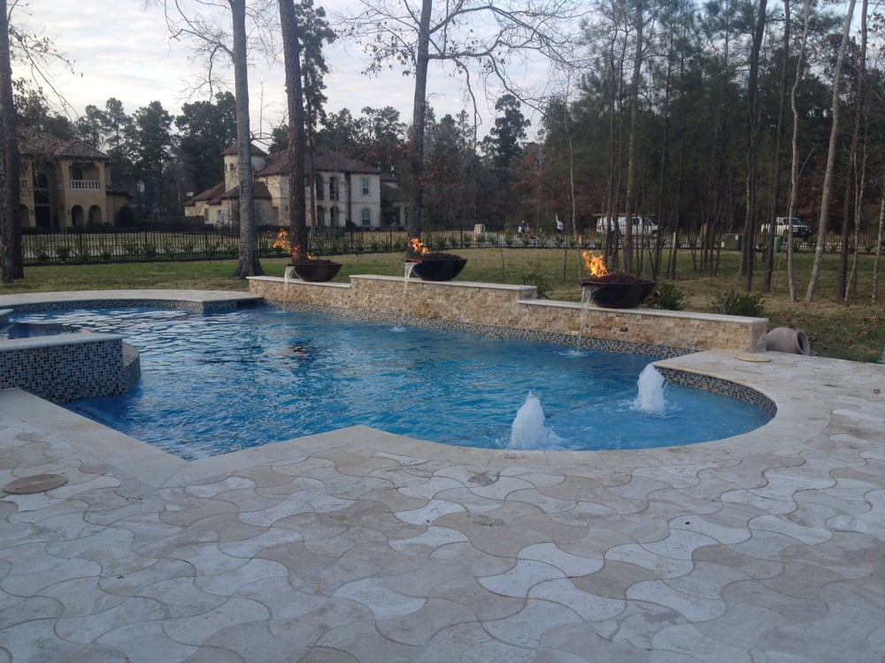 Benders landing bowtie decking travertine coping fire - Pool fire bowls ...