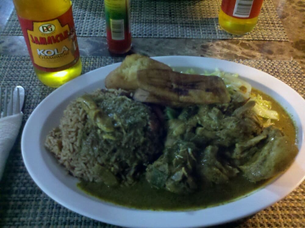 Curry chicken rice beans cabbage and plantains yelp for Ackee bamboo jamaican cuisine