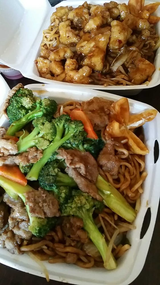 Broccoli beef & chow mein and General Chicken & chow mein ...