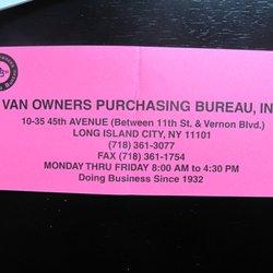 Long Island Bureau.Van Owners Purchasing Bureau Packing Supplies 1035 45th Ave