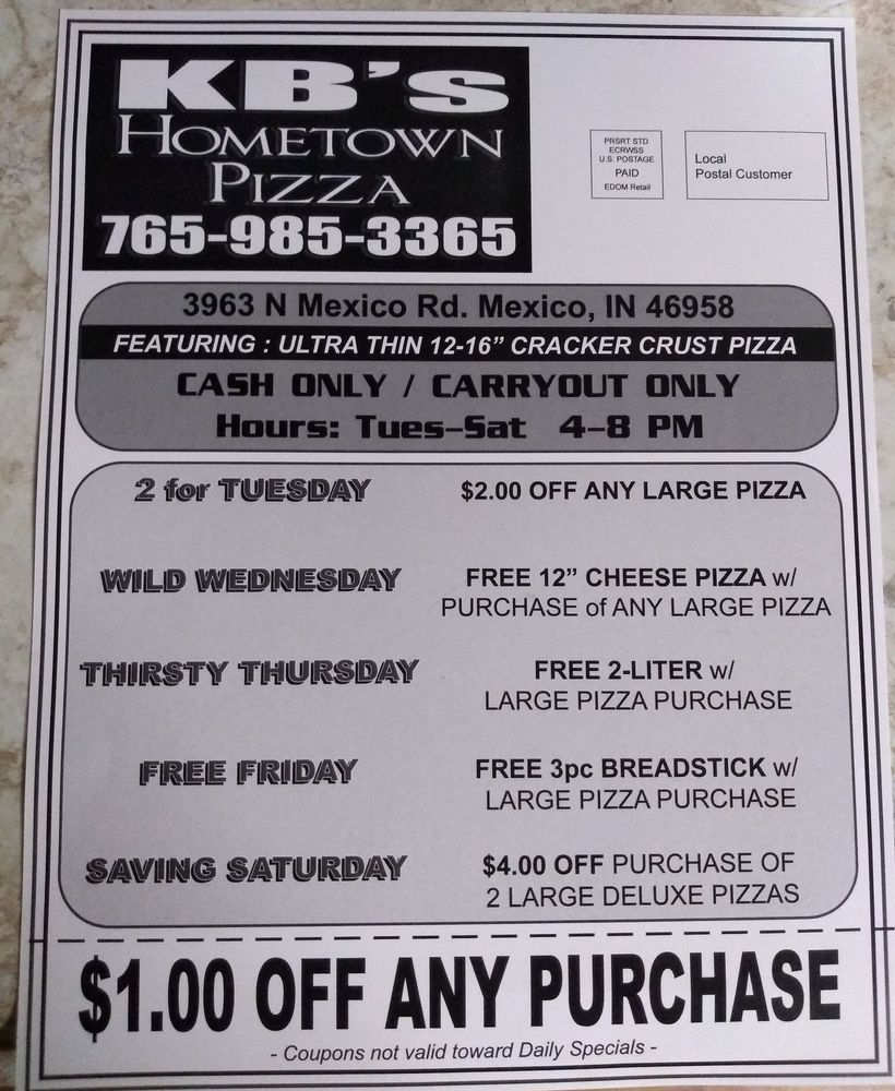 KB's Hometown Pizza: 3963 N Mexico Rd, Mexico, IN