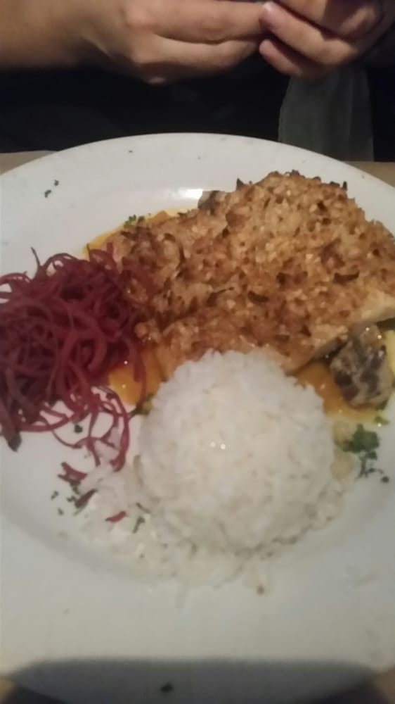 Gluten free option, coconut crusted Mahi-mahi with coconut rice - Yelp