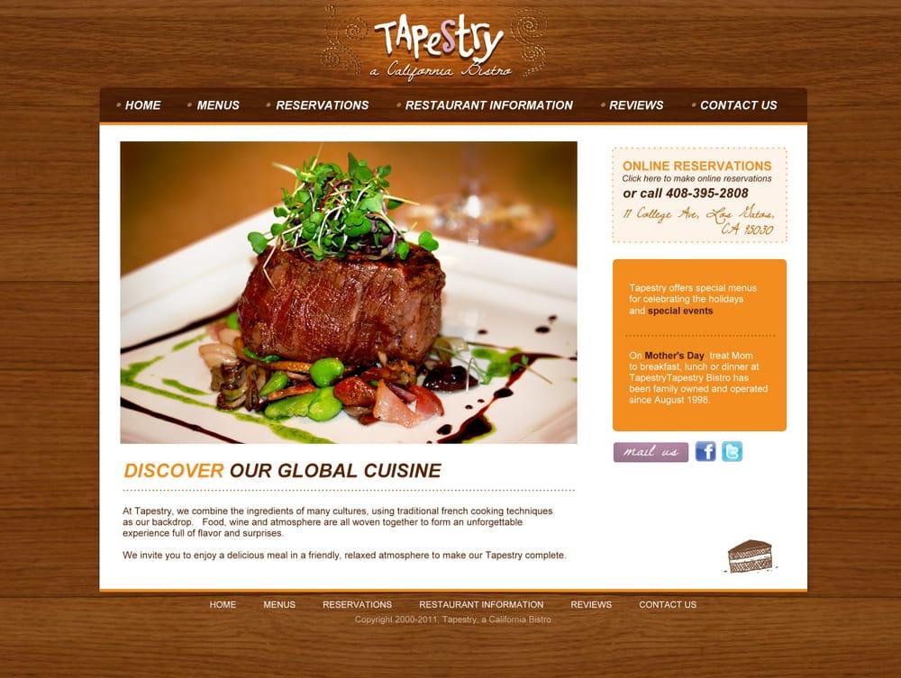 Restaurant website design for tapestry bistro in los gatos