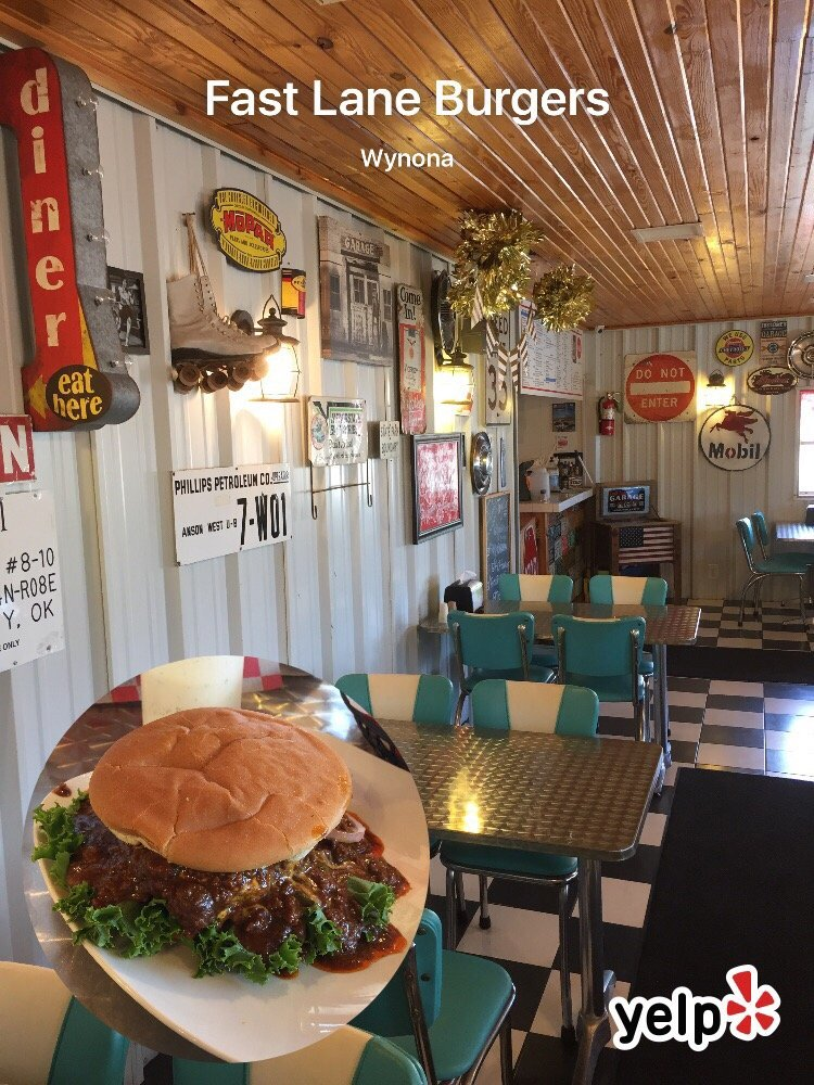 Fast Lane Hamburgers: 104 W 7th St, Wynona, OK