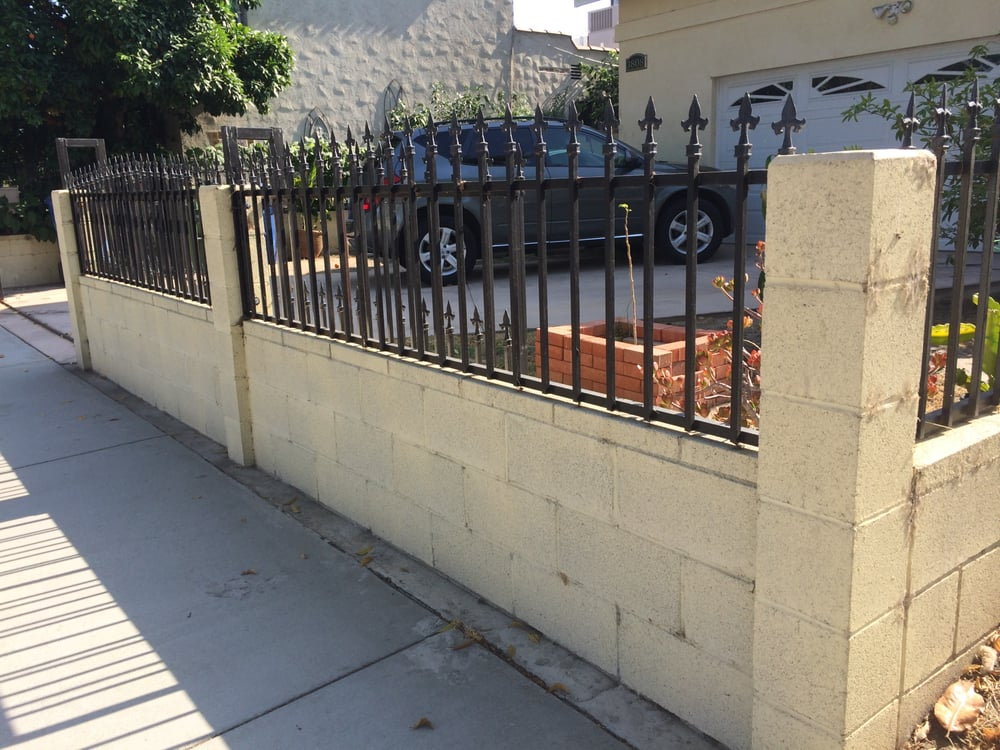 Cinder Block Wall And Wrought Iron Fencing Built In