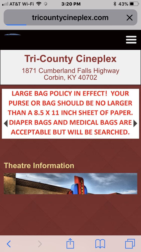 Tri-County Cineplex: 1871 Cumberland Falls Hwy, Corbin, KY