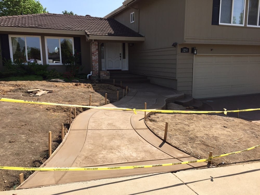 Photo of A P Concrete - Livermore CA United States. Entry path from front & Entry path from front sidewalk to front door. Driveway steps in ...