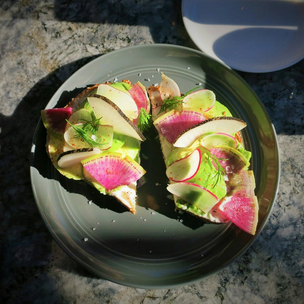 Radish Avocado Toast Made With Herbs Foraged In Descanso Gardens Yelp