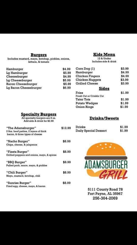 Adamsburger Grill: 5111 Co Rd 78, Fort Payne, AL