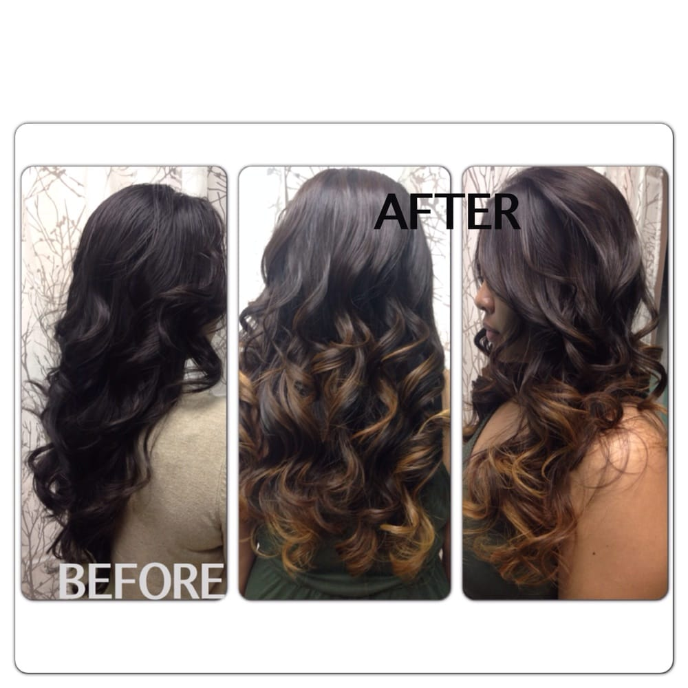 Before and after balayage 3 tones of color 1 process - Yelp