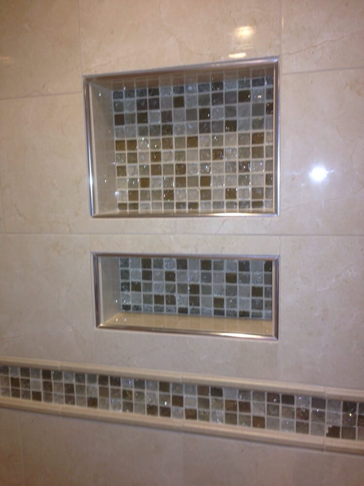 Shower niche with glass mosaic tile and schluter edging - Yelp