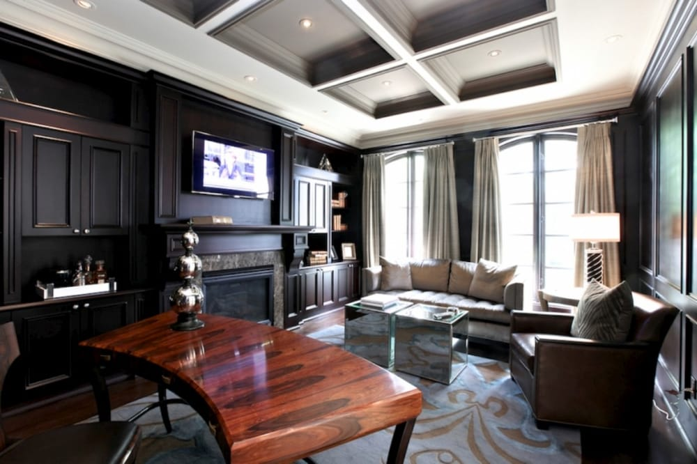 Waffle Coffered Ceiling With Crown Moulding And Wainscoting Paneling