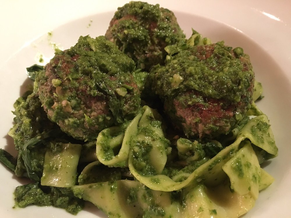 The Pesto Pappardelle With Lamb Pork Meatballs And Mustard