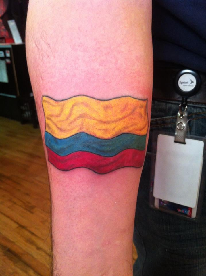 Colombian flag done by brock samson yelp for Oklahoma flag tattoo
