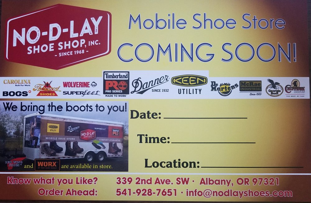 No-D-Lay Shoe Shop: 339 2nd Ave SW, Albany, OR