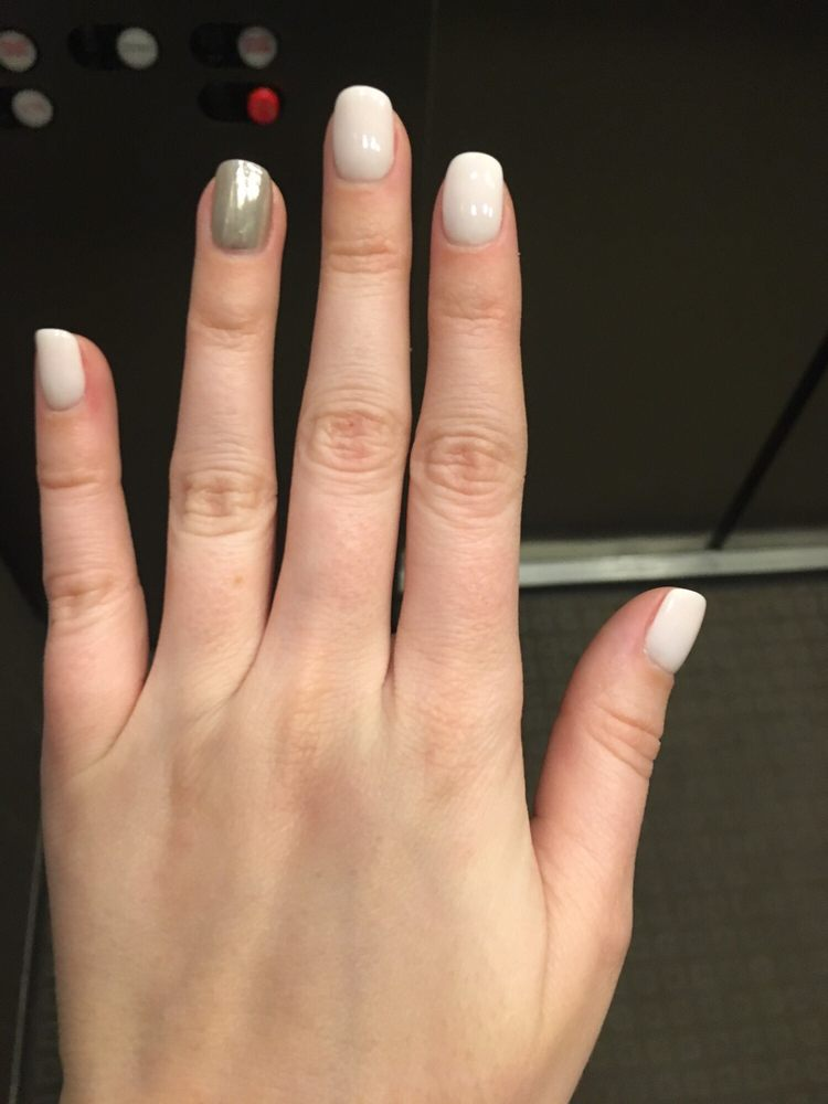 Powder gel manicure with a metallic detail - Yelp