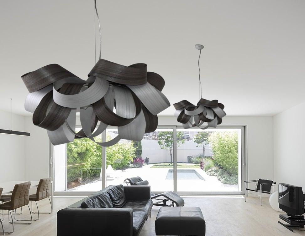 Lampadario In Legno Design : Lampadario in metallo rivestito in lamina di legno design