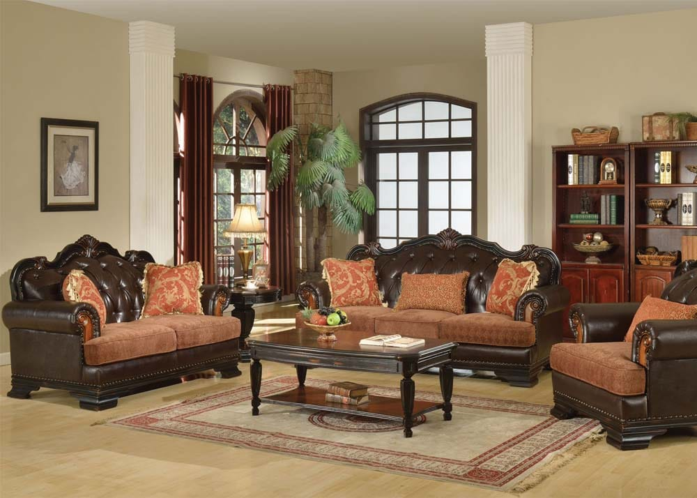 Brown Leather And Fabric Mix Traditional Sofa Love Seat