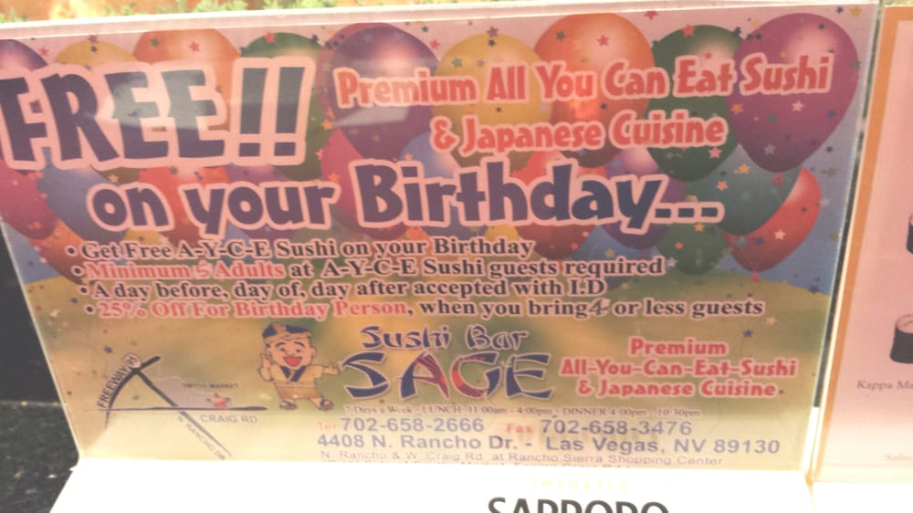 Free Birthday Las Vegas ~ Free ayce sushi for your birthday yelp