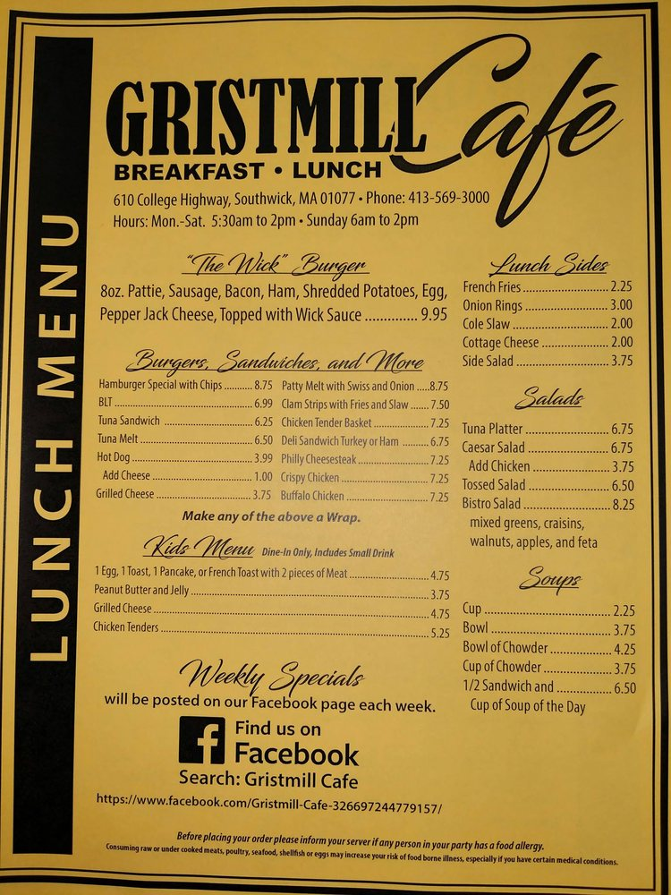 Gristmill Cafe: 610 College Hwy, Southwick, MA
