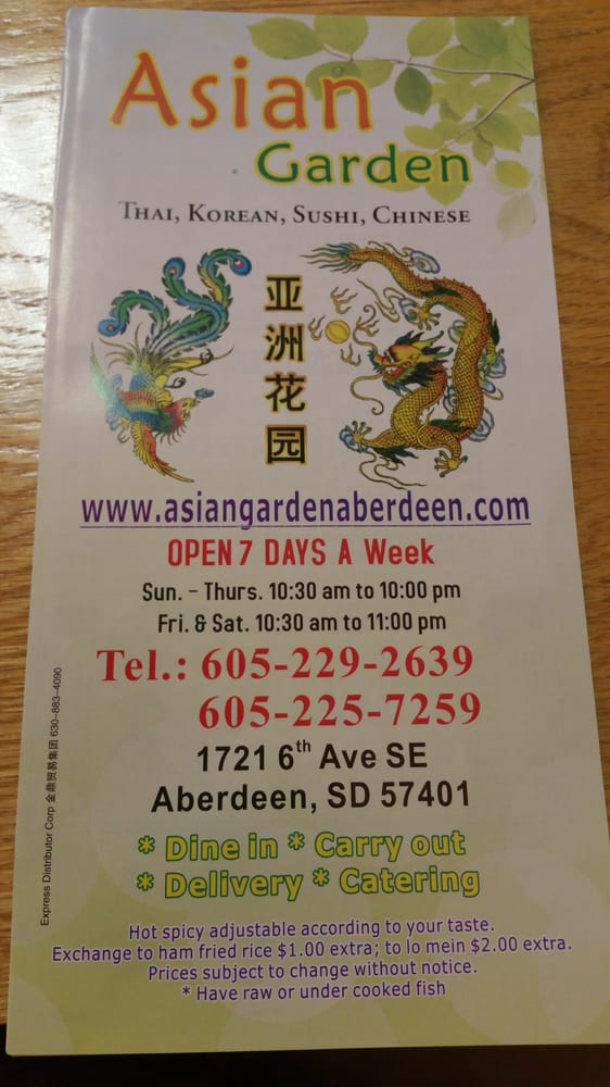 Asian Garden: 1721 6th Ave SE, Aberdeen, SD
