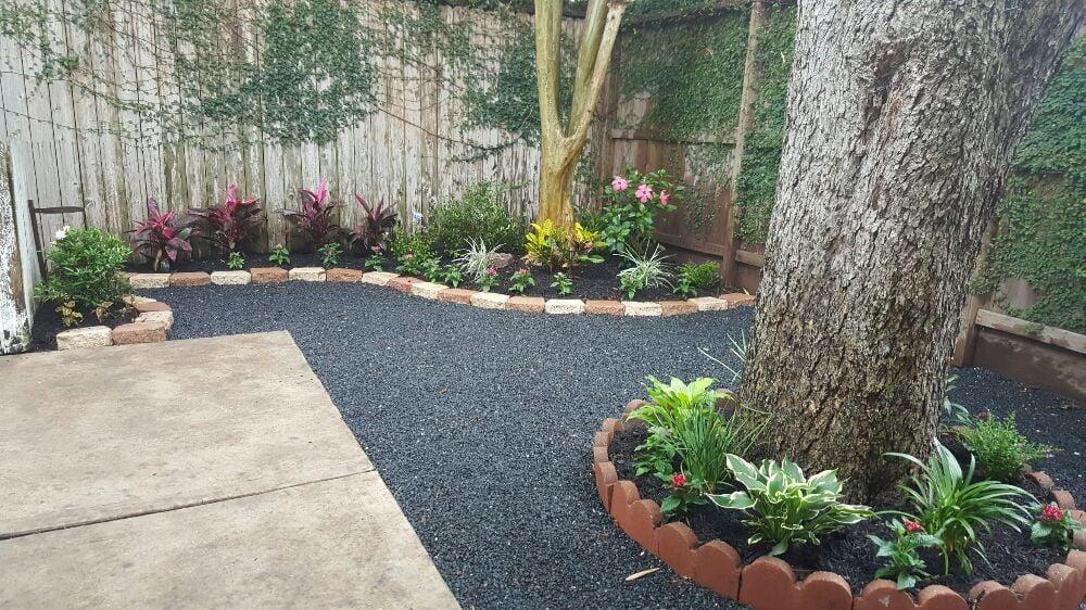 Backyard Landscape With Black Star Gravel Patio.   Yelp
