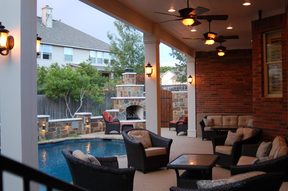 Outdoor Fireplace, Stone Accents Walls, Patio Cover ... on Living Accents Patio id=86469