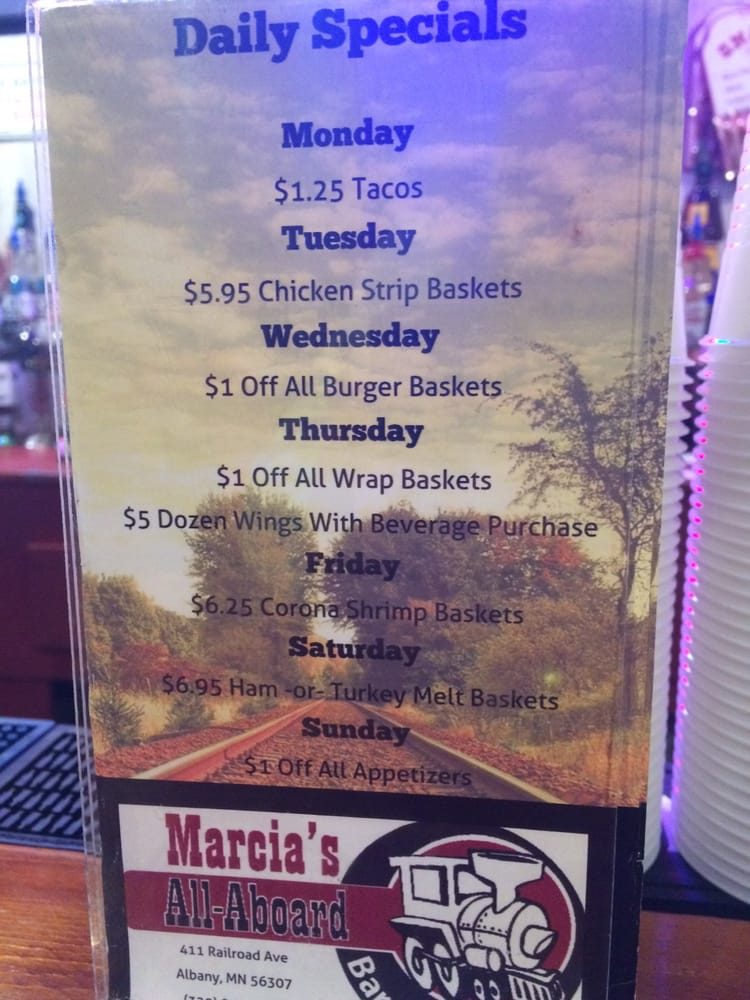 Marcia's All Aboard Bar & Grill: 411 Railroad Ave, Albany, MN