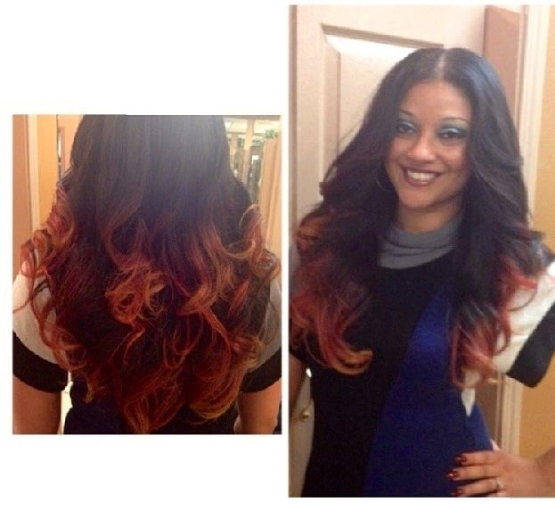 Full Head Weave With Ombr Colored Ends Cut And Styled Beautiful