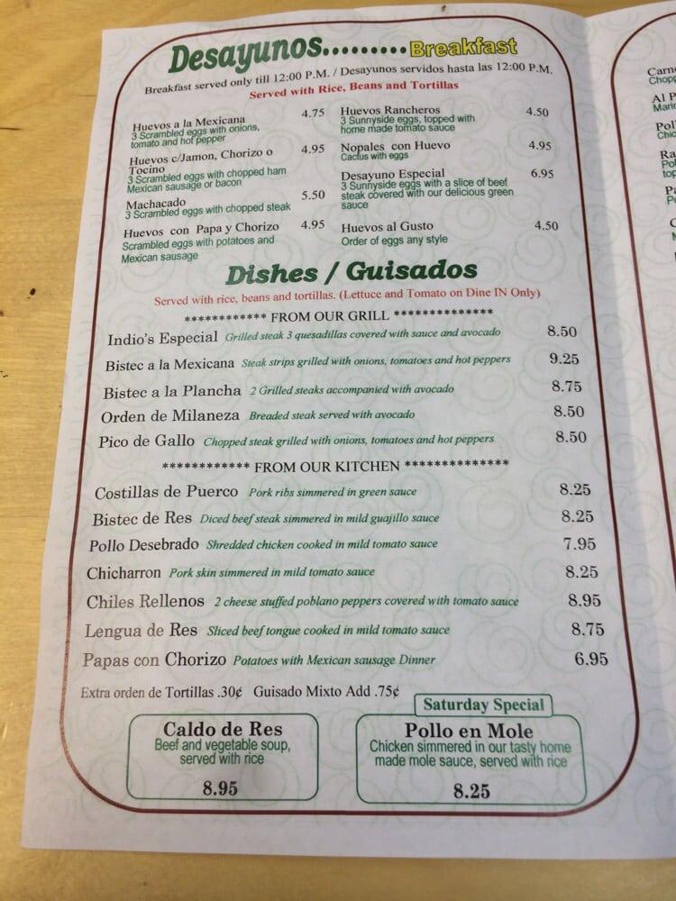 Indio Restaurant Menu Cicero