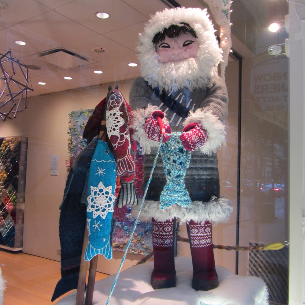 Knitting Classes Nyc : Window display knit eskimo with catch of the day yelp