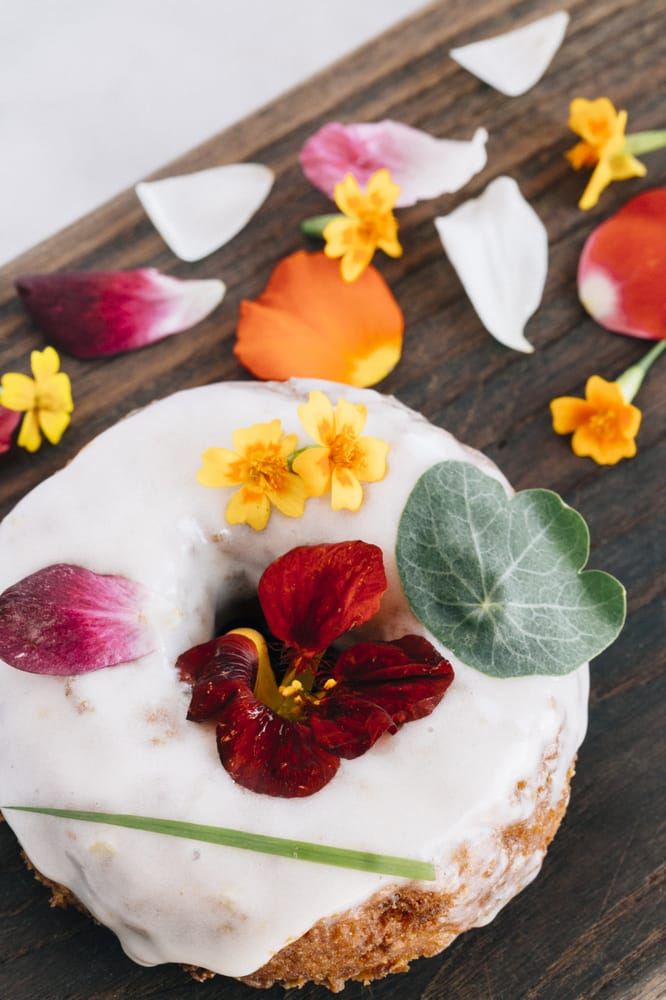 Sidecar's hibiscus flower topped doughnut