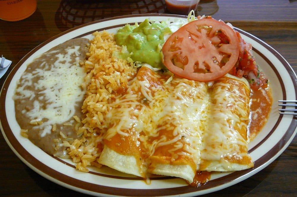 Enchiladas With Rice And Beans Enchiladas Platter w/ ...