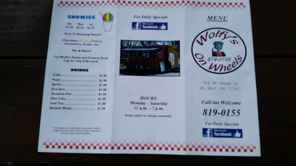 Wolfy's On Wheels: 142 W Maple St, Mount Wolf, PA