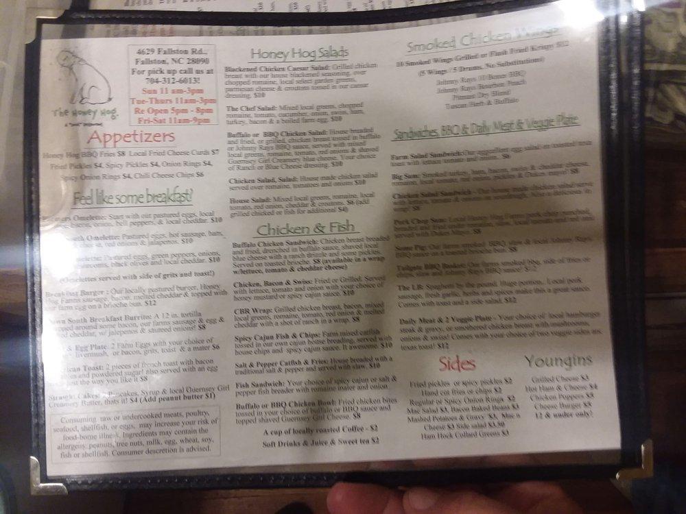 Online Menu Of The Honey Hog Restaurant Lawndale North