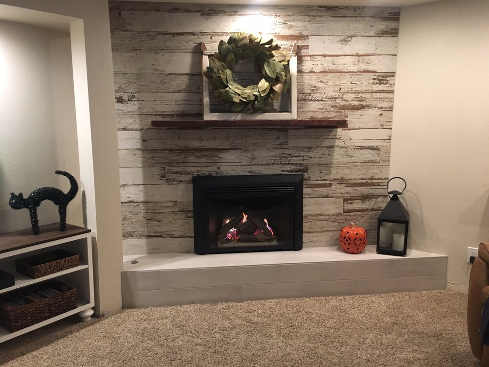 Wood Fireplace barnwood fireplace : Barn Wood distressed tile planks for fireplace - Yelp
