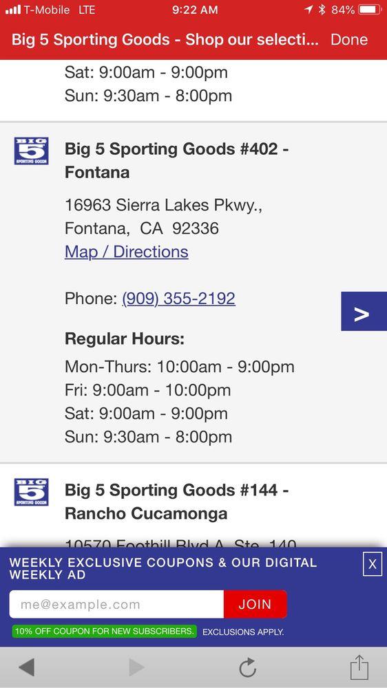 Big 5 Sporting Goods: 16963 Sierra Lakes Pkwy, Fontana, CA