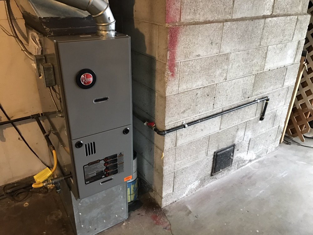 my newly installed rheem furnace and gas line in fireplace