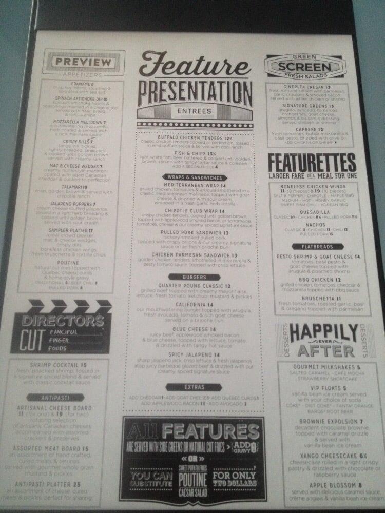 Cineplex Deluxe Food Menu