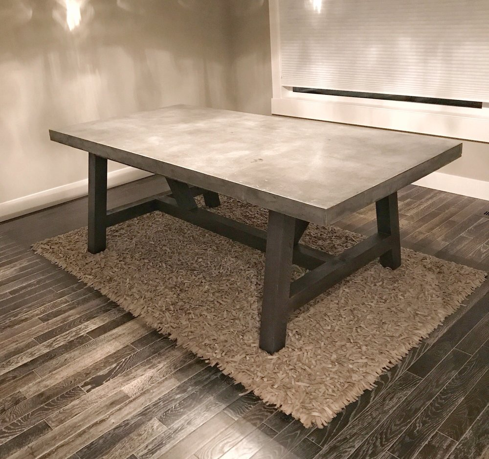 Concrete Wood Farmhouse Dining Table Yelp