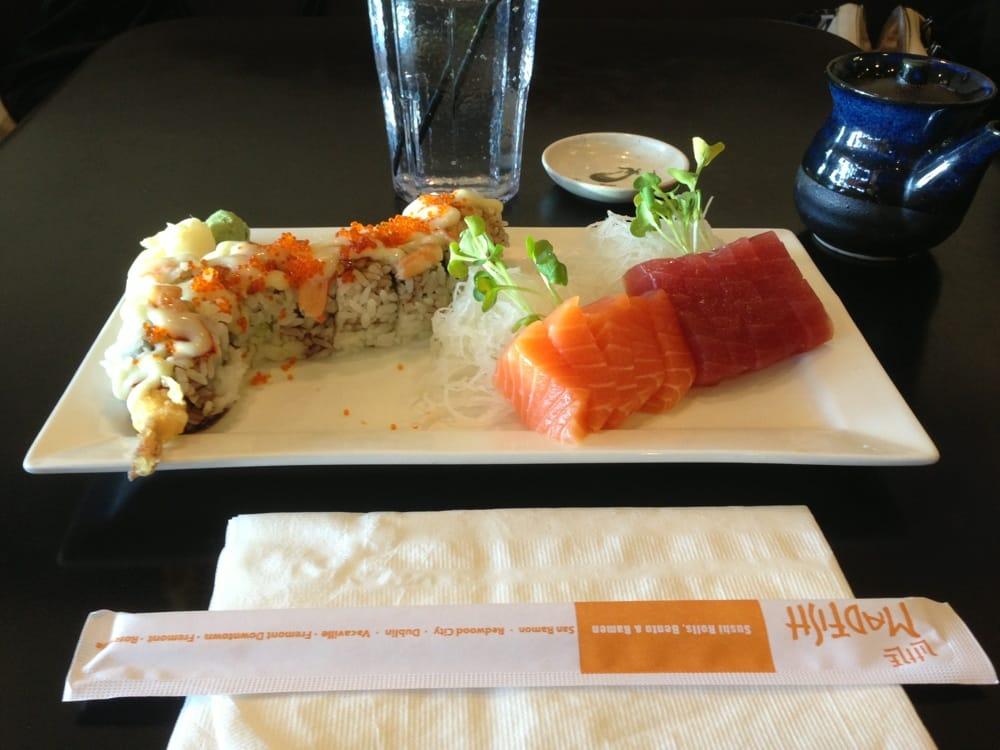 Shrimp inside out 10 piece sashimi yelp for Mad fish menu