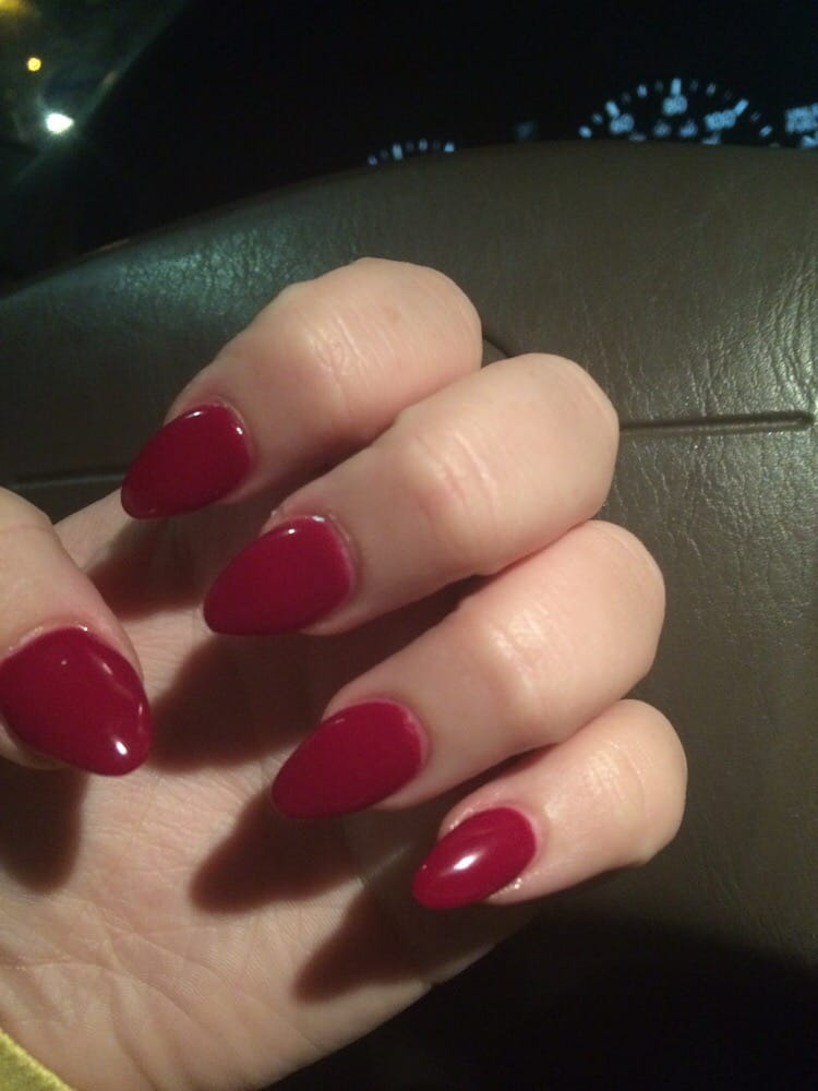 Burgundy gel nails with acrylic tips by Cece! - Yelp