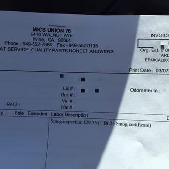 Smog Check Invoice - Yelp