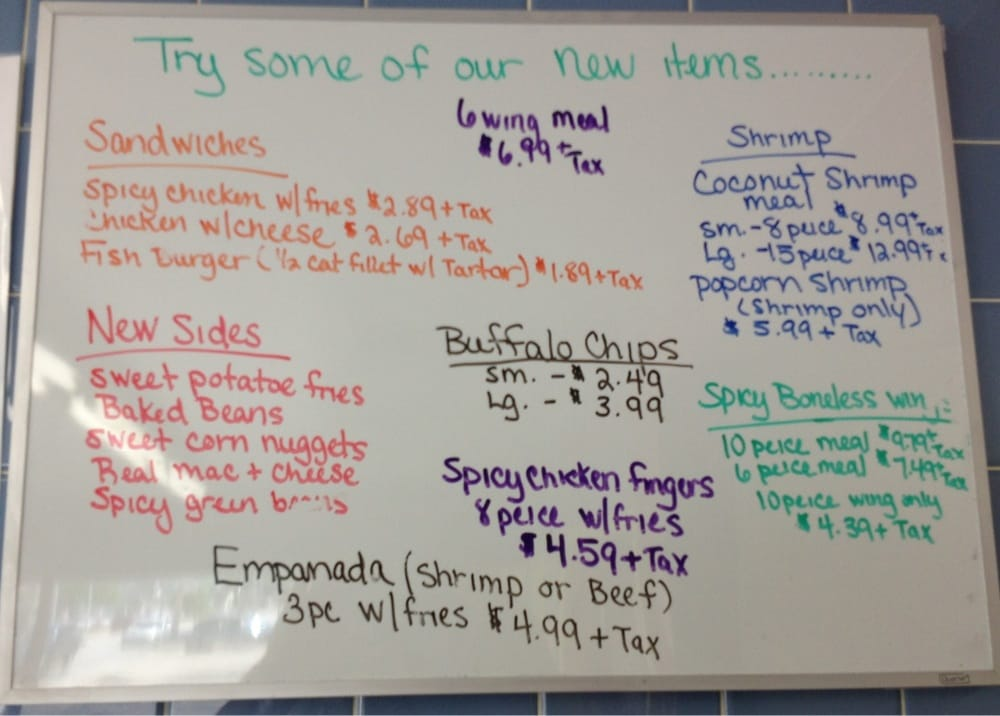 Whiteboard highlighting new items yelp for Fish express kalamazoo