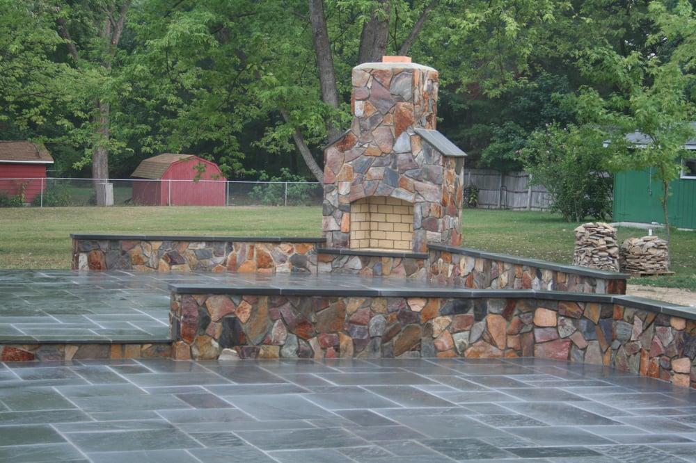 Flagstone Patio W Fireplace And Sitting Walls Yelp
