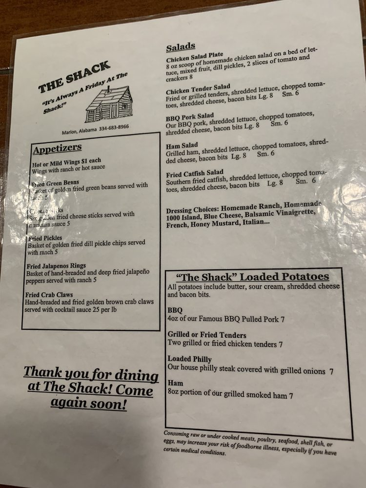 The Shack: 20555 Hwy 183, Marion, AL