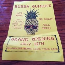 Bubba Gumbo S Tybee Island Menu